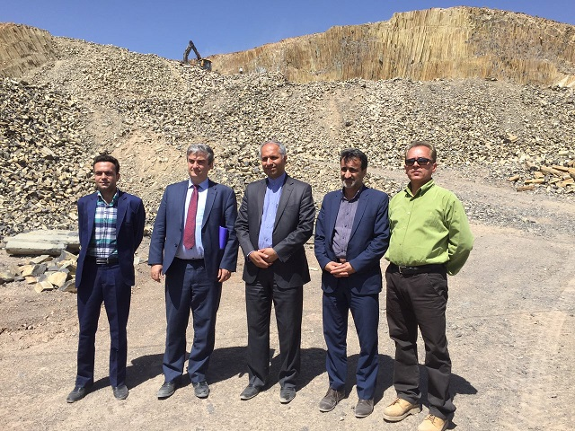 Danish Ambassador and officials in the province of south Khorasan visited Oranus basalt mine